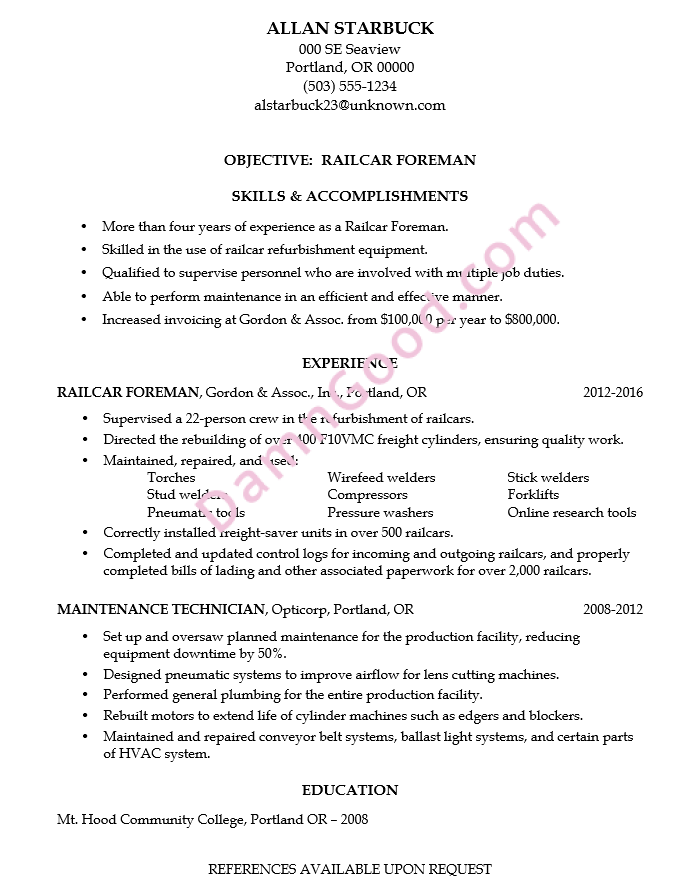 railroad resume objective examples