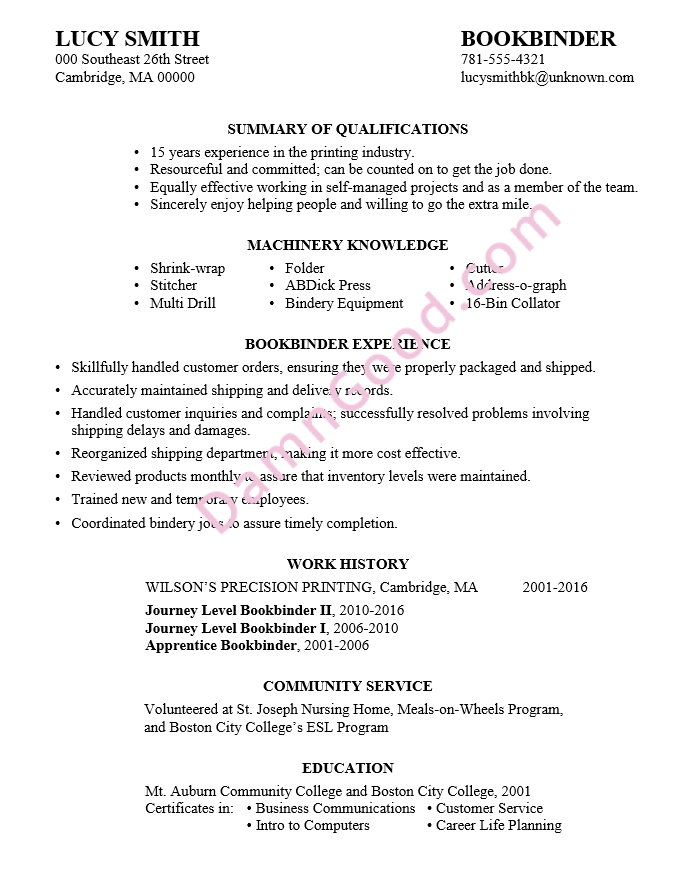 resume examples without a college degree