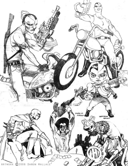 robot motorcycle cyborg cartoon comic book