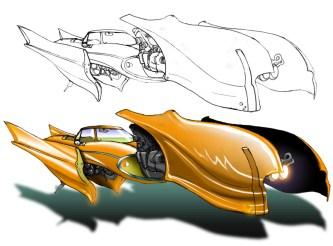 Vehicle sketch & experimental color render
