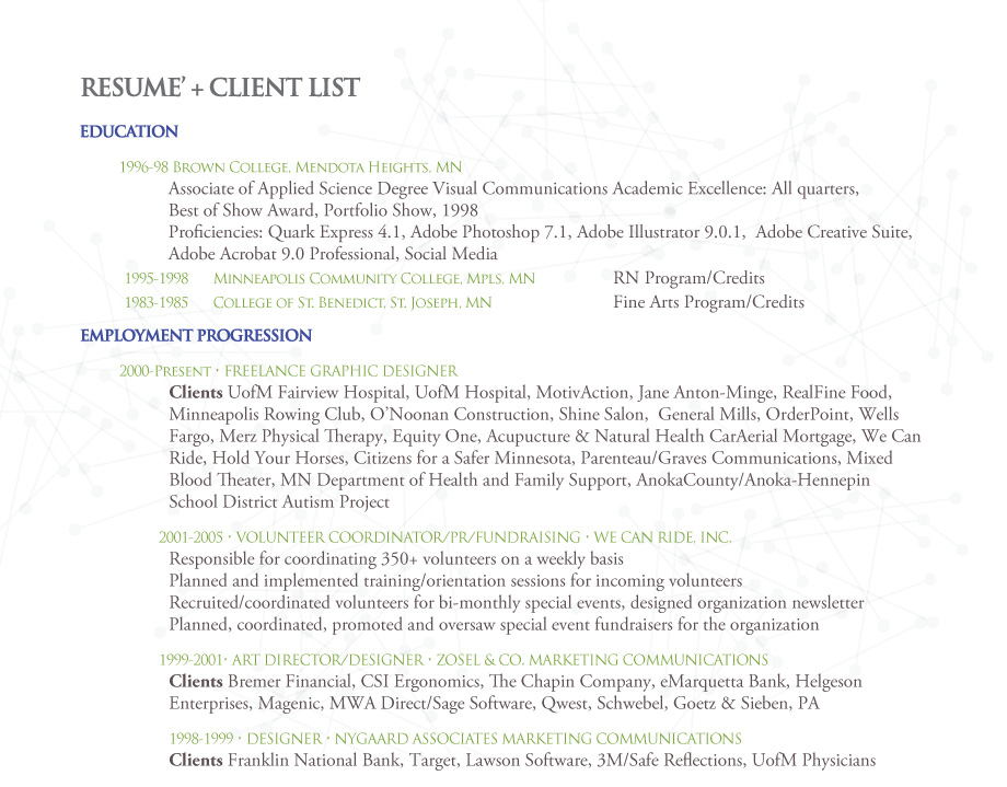 resume + client list - Damselfly-Design
