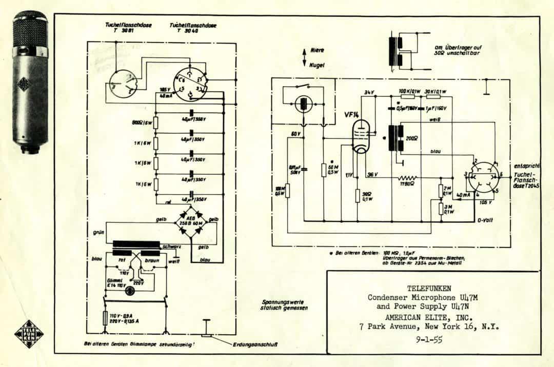 Telefunken U47M Microphone, and U47N Power Supply Schematics - Dan