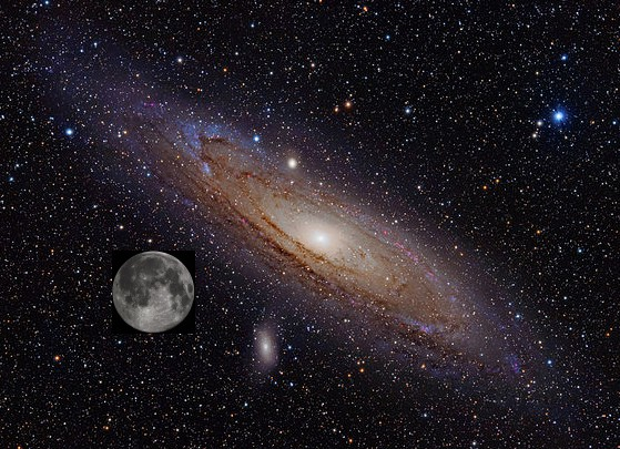 Andromeda Galaxy with moon inset to show relative size