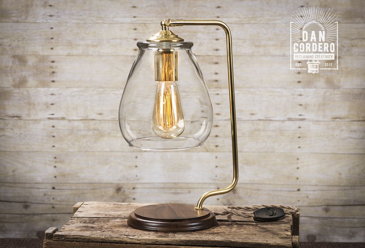 Glass Edison Lamp Glass Shade Edison Bulb Table Lamp Brass