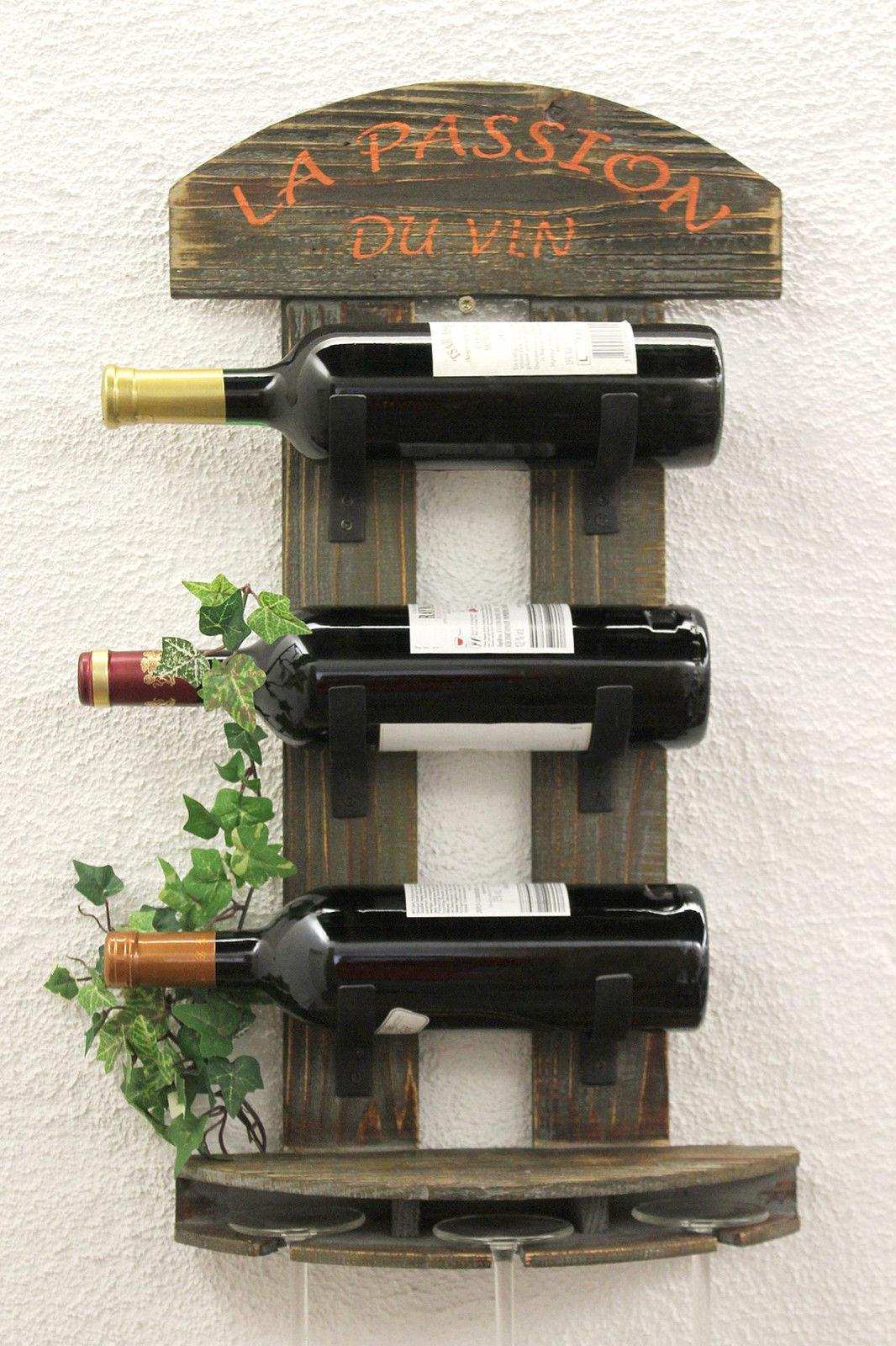 Bar Flaschenhalter Botellero Para Vino Estante De Pared 5091 Madera 60 Cm Bar