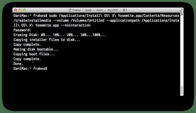 createinstallmedia's Terminal output