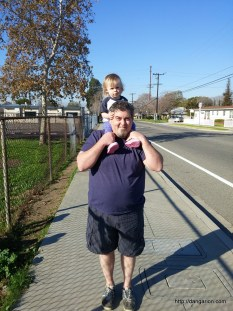 Talking a walk with daddy.