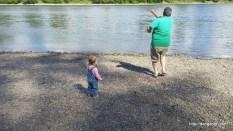 Teaching Abby how to skip rocks.