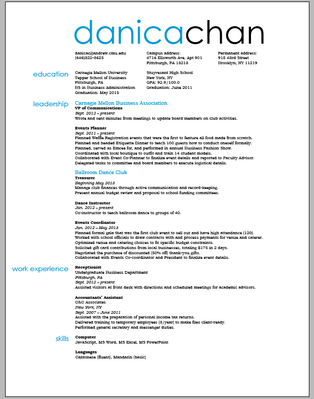 resume current styles resume examples listed by style the balance resume and business card final