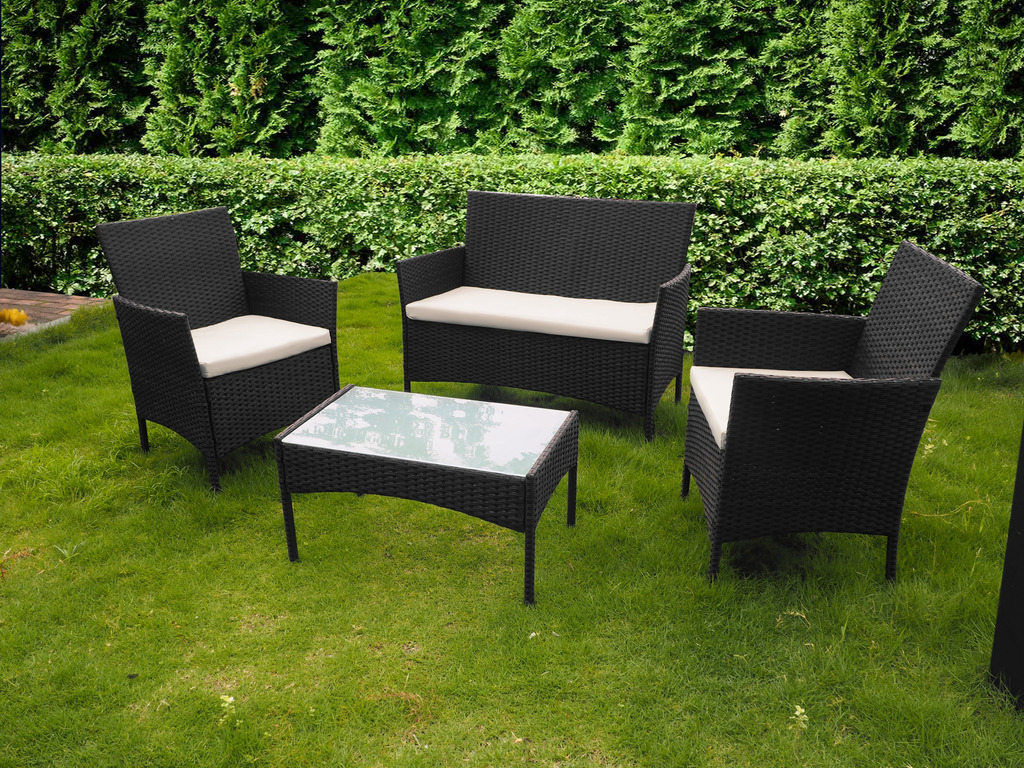 Owen 5 Piece Rattan Sofa Set With Cushions 4 Piece All Weather Rattan Garden Furniture Set For Indoor Or Outdoor Use