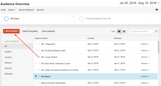 Google Analytics create custom segment