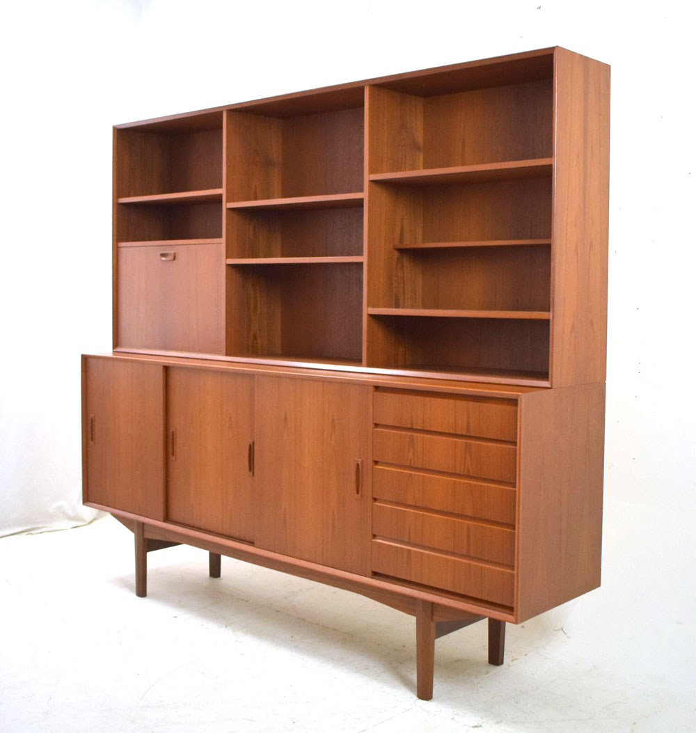 Vintage Sideboard For Sale Uk 1960s Teak Sideboard With Bookcase Top Danish Homestore
