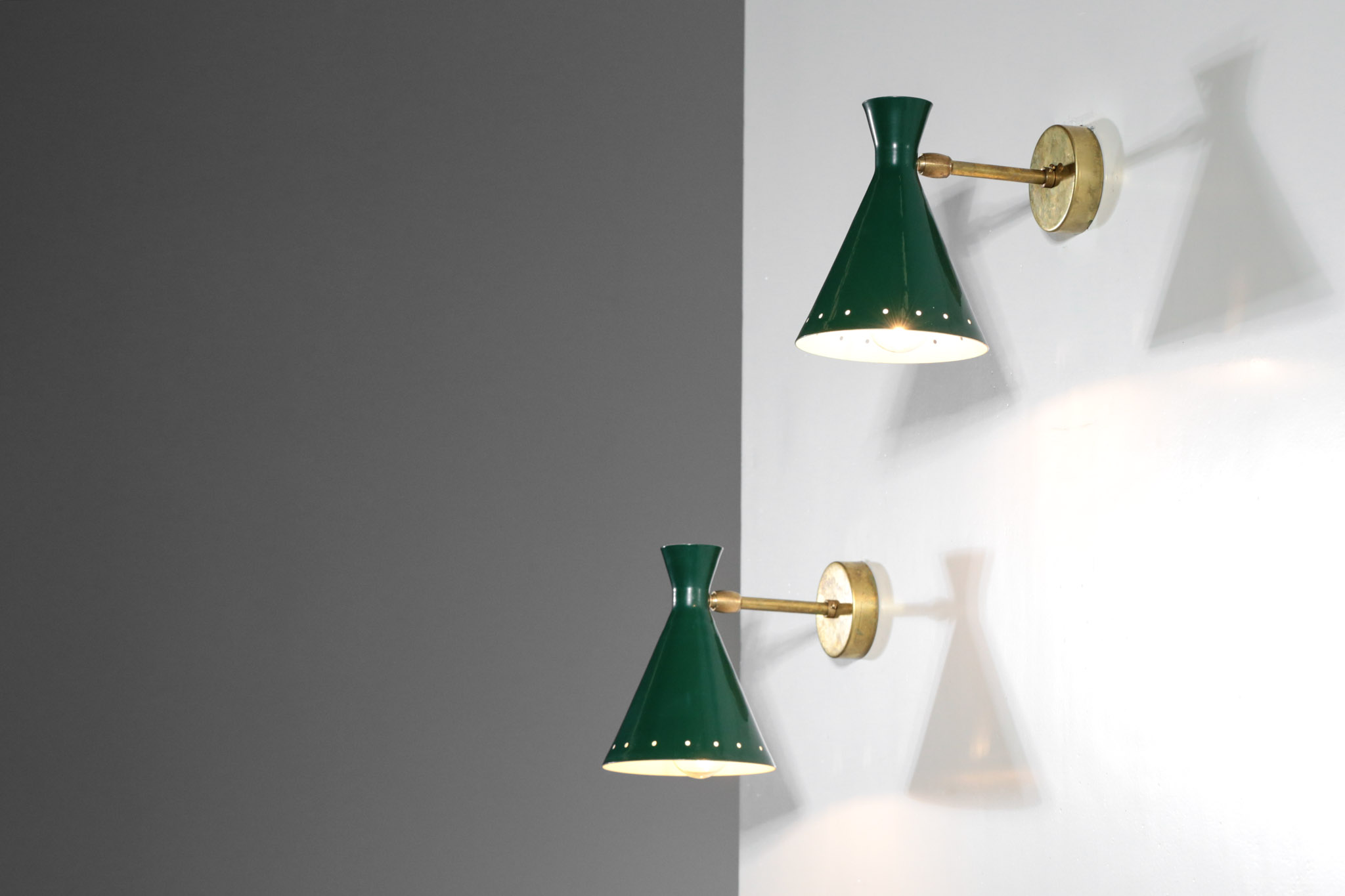 Appliques Vintage Pair Of Italian Wall Lamps Cocotte Green Danke Galerie