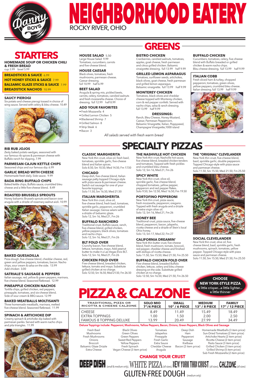 Italian Take Away Menu Danny Boys Pizza Menus