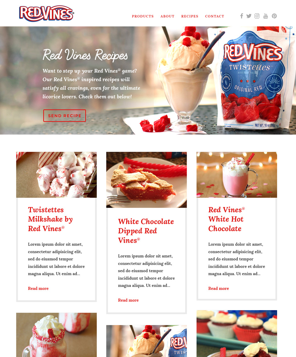 Red Vines recipes page design