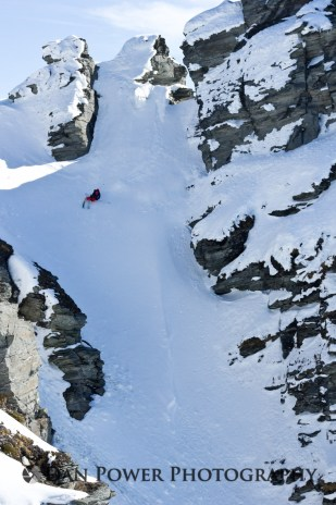 Pete Oswald - Treble Cone Chute - Editorial and Sport Photography