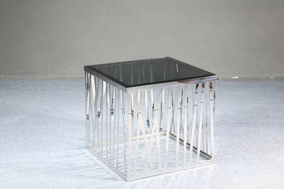 Metal Glass End Tables Modern Square Coffee Table Black Tempered Glass End Tables