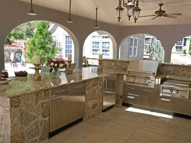 danver outdoor kitchens outdoor kitchen cabinets Stainless Cabinets in Stone Enclosure