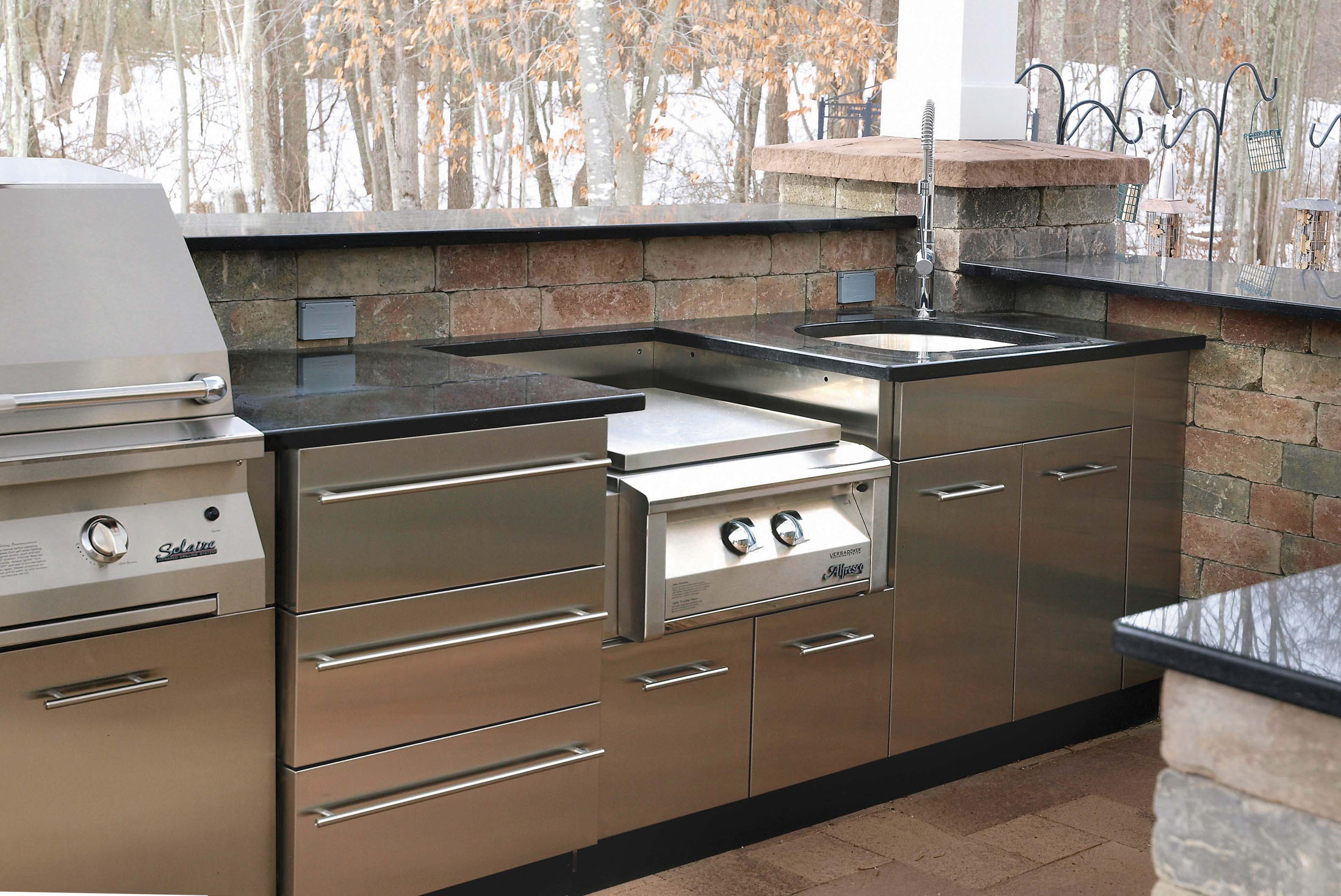 Outdoor Stainless Steel Cabinets Outdoor Stainless Kitchen In Winter In Ct Danver