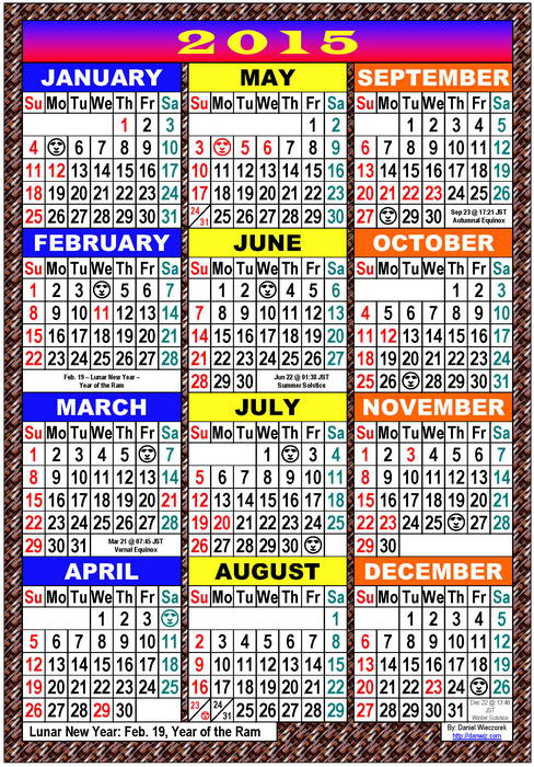 2015 USA, Japanese  International Calendars - PDF, Kindle and Print
