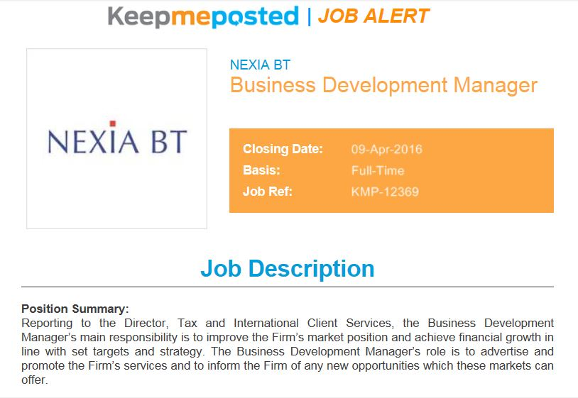 There\u0027s a vacancy at Nexia BT for a business development manager - Business Development Manager Job Description