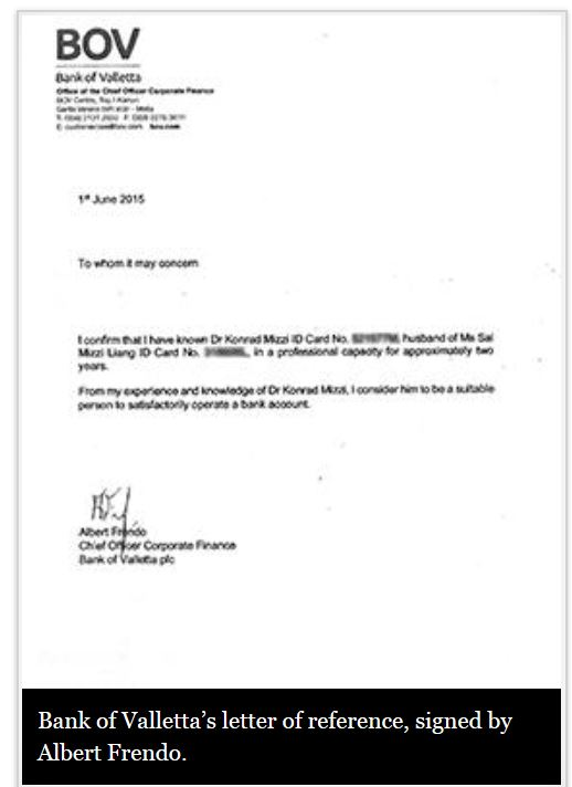 Surprise - there\u0027s a fishy bank reference letter for Konrad Mizzi