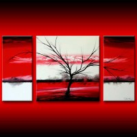 Red white three canvas wall art large painting