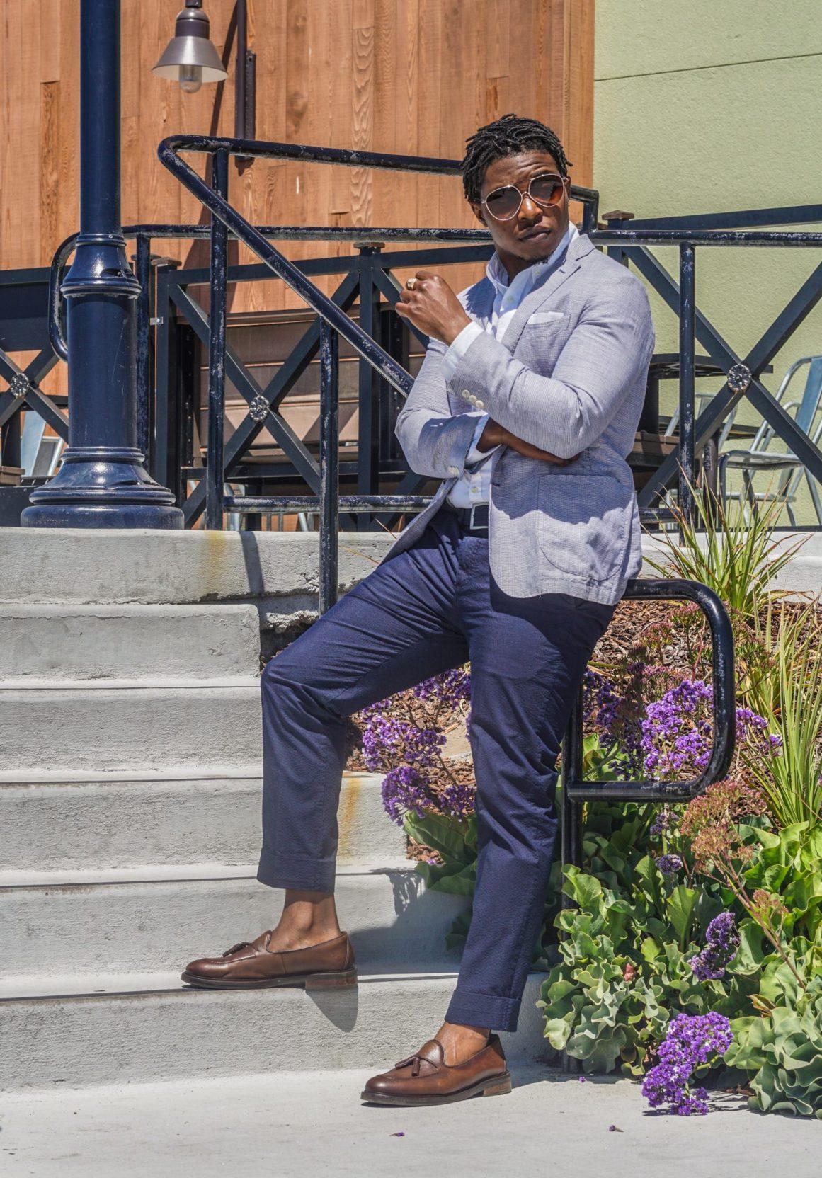 dapper advisor-black man wearing-linen blazer-seersucker pants-2