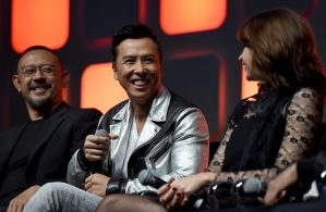 LONDON, ENGLAND - JULY 15: (L-R) Wen Jiang, Donnie Yen and Felicity Jones on stage during the Rogue One Panel at the Star Wars Celebration 2016 at ExCel on July 15, 2016 in London, England. (Photo by Ben A. Pruchnie/Getty Images for Walt Disney Studios) *** Local Caption *** Wen Jiang; Donnie Yen; Felicity Jones