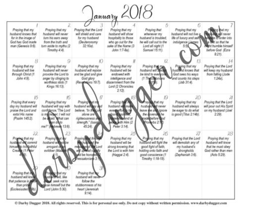 January\u0027s Printable Prayer Calendar \u2014 Darby Dugger