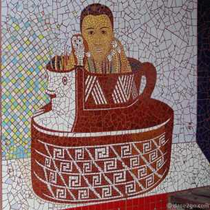 Paraderos Del Viento: very intricate detail in this mosaic on a bus shelter