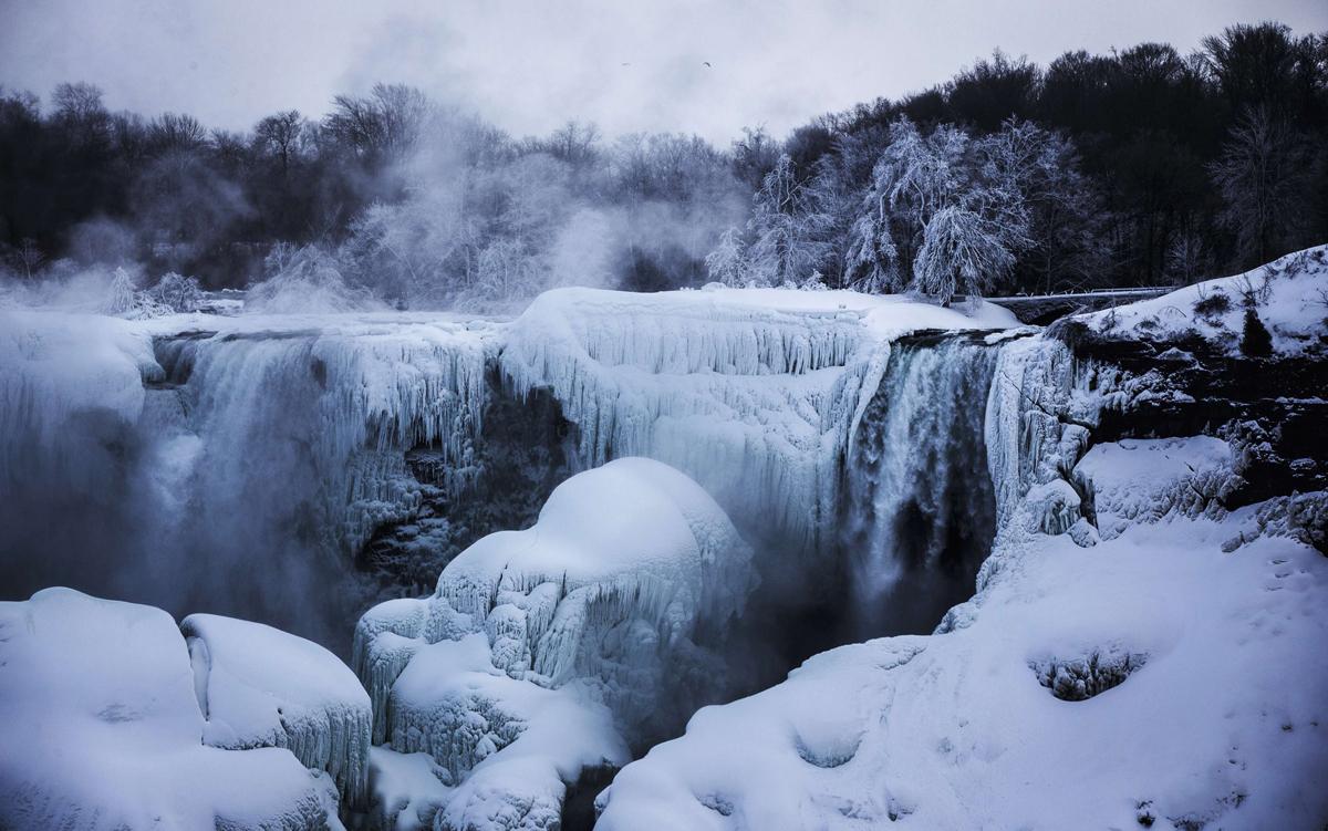 Niagara Falls Night Wallpaper Photos A Partially Frozen Niagara Falls Is Seen On American Side