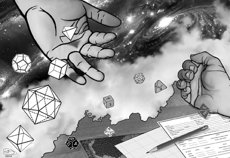 Title Illustration for Chapter Two suggesting a relationship between the platonic solids and gaming dice.