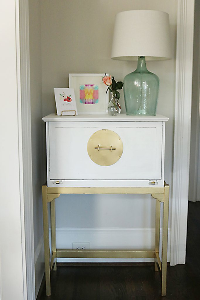 Diy painted white and gold furniture amy howard at home for Amy howard paint kitchen cabinets