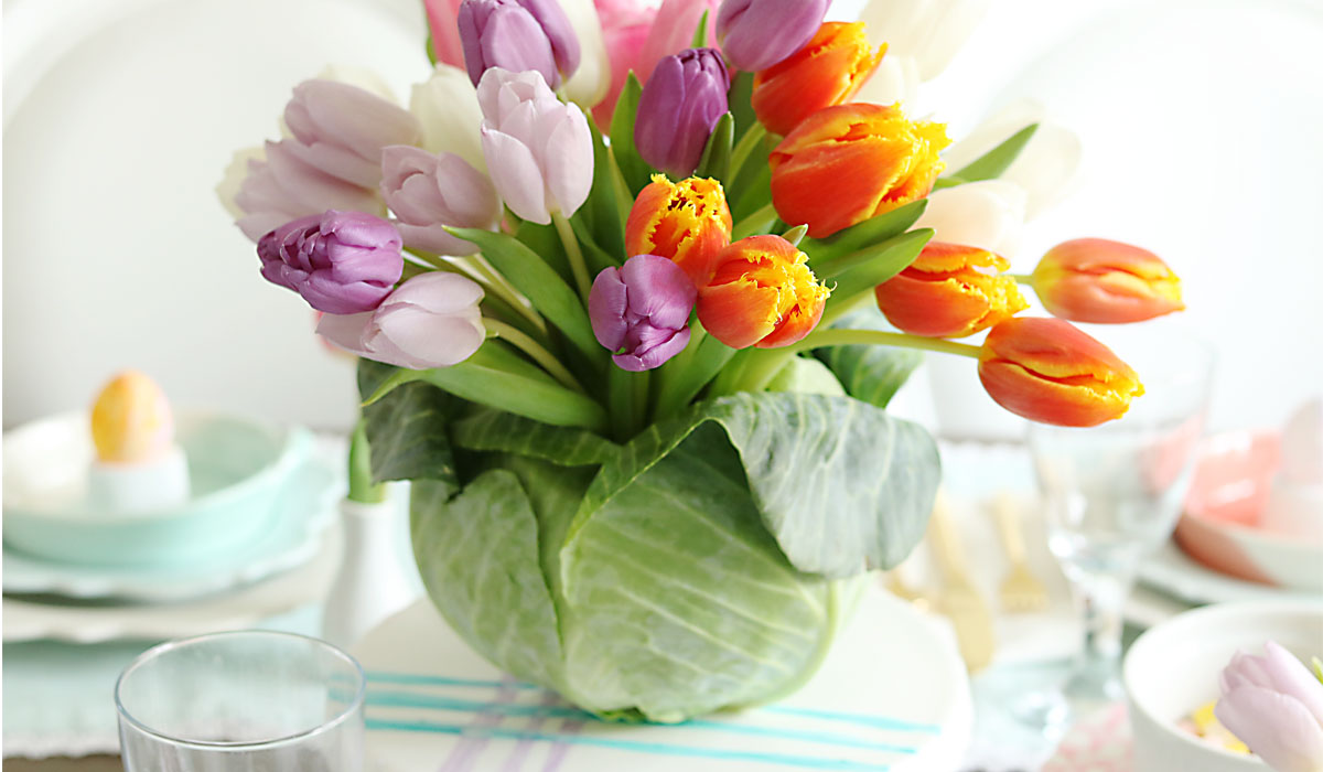 Tulips Flower Arrangement Diy: Tulip Cabbage Flower Arrangement For Easter - Darling