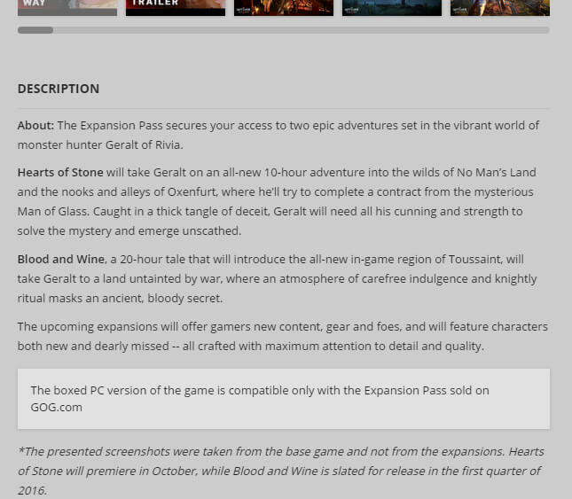 Screenshot from GOG detailing the Expansion Pass