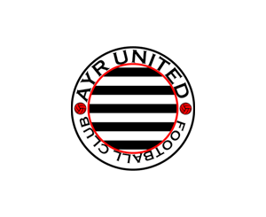 Ayr Utd redesigned badge - black and white stripe version