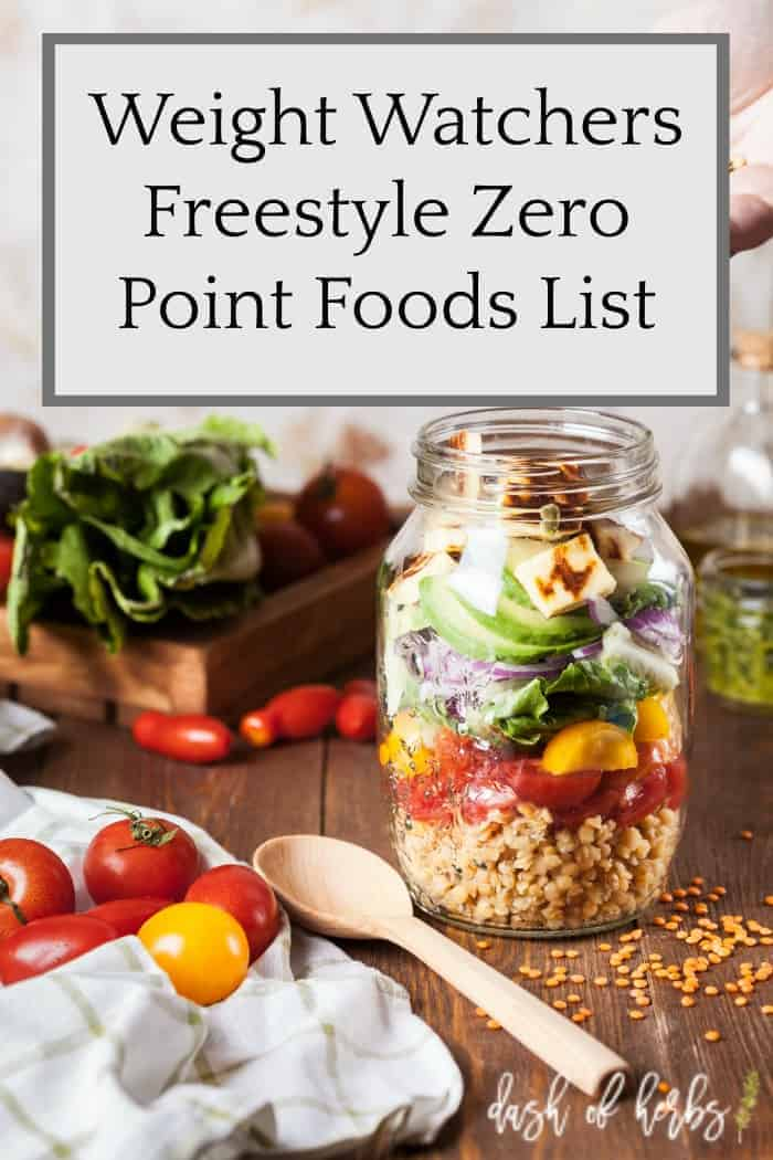 Weight Watchers Freestyle Zero Point Foods List - Dash of Herbs