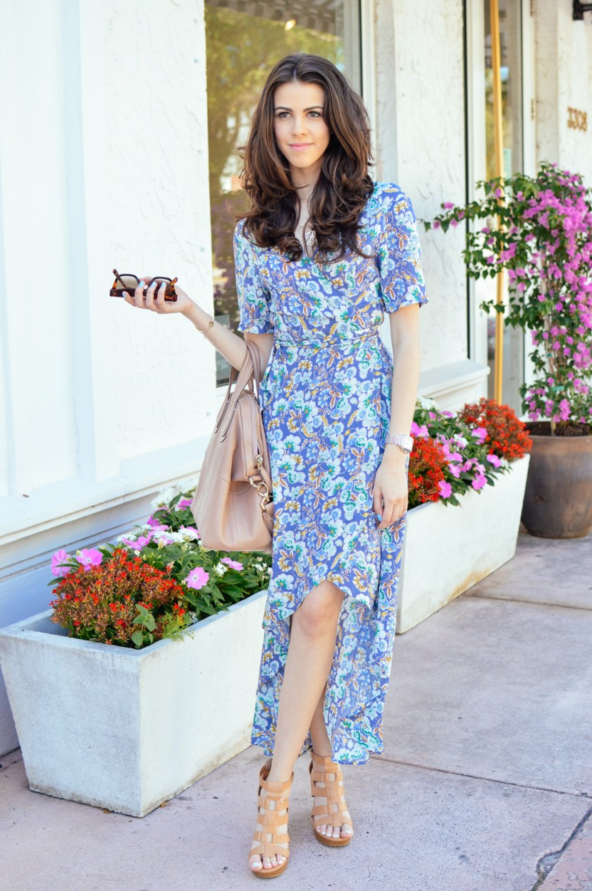 Jackie Roque wearing ASTR Floral Wrap Dress