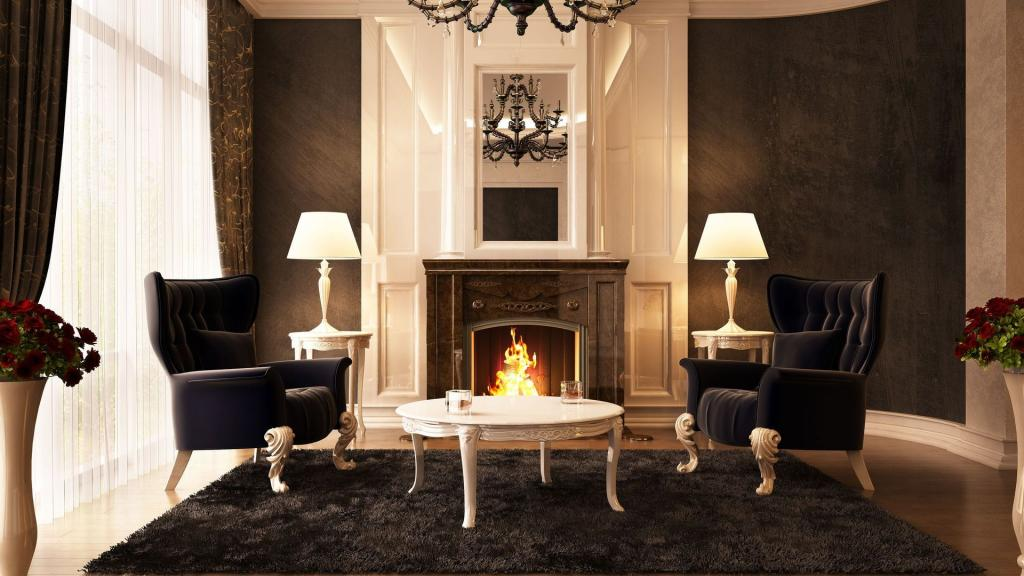 3d Moving Fireplace Wallpaper Black Chairs In Front Of The Fireplace Hd Desktop
