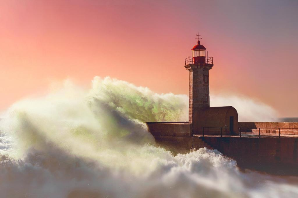 Baby Girl Wallpaper Full Hd Lighthouse Wave Sea Evening Ocean Architecture Sunset