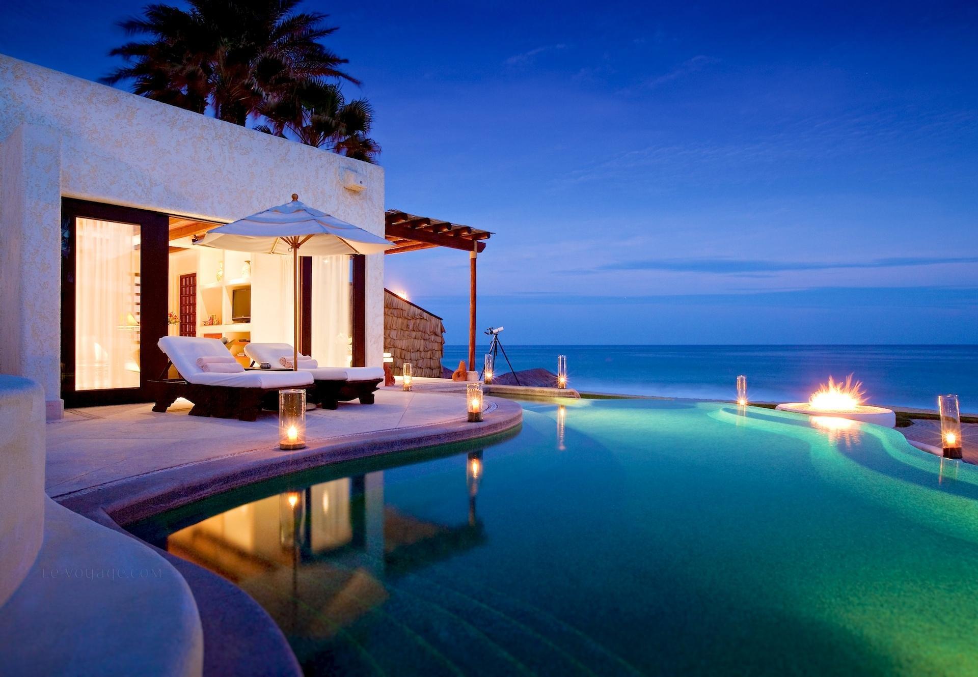 Beautifully lit pool at night hd desktop wallpaper