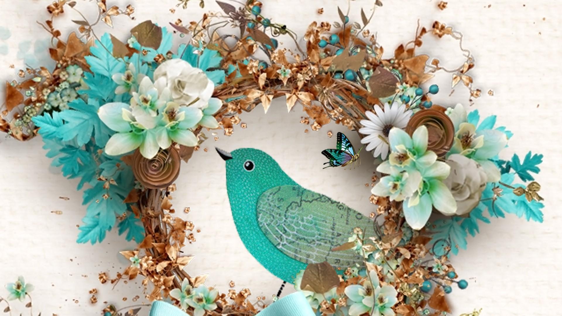 3d Moving Wallpaper Download For Windows 7 Bird Flowers Cyan Hd Desktop Wallpaper Widescreen High
