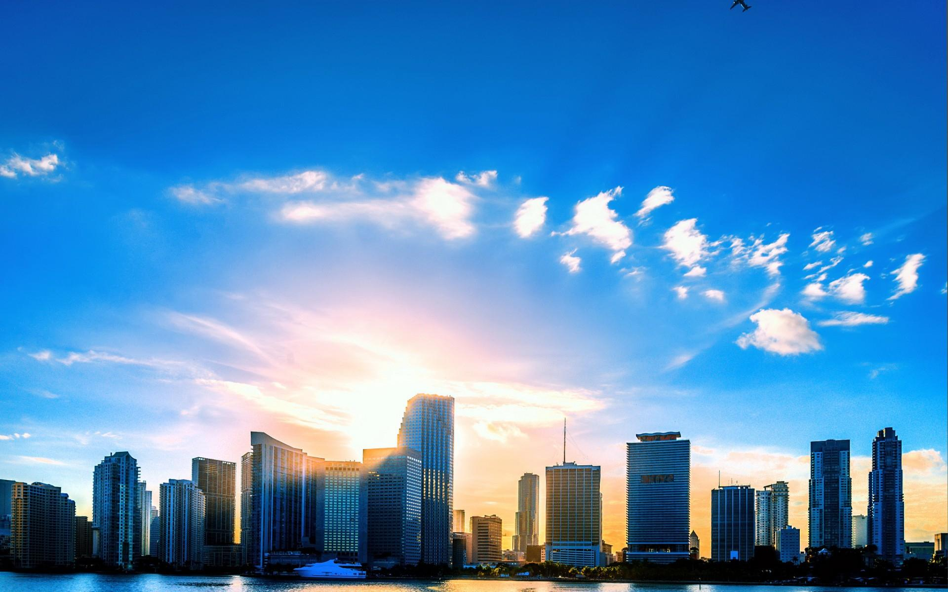 Microsoft Animated Wallpaper Blue Sunset Over The City Hd Desktop Wallpaper