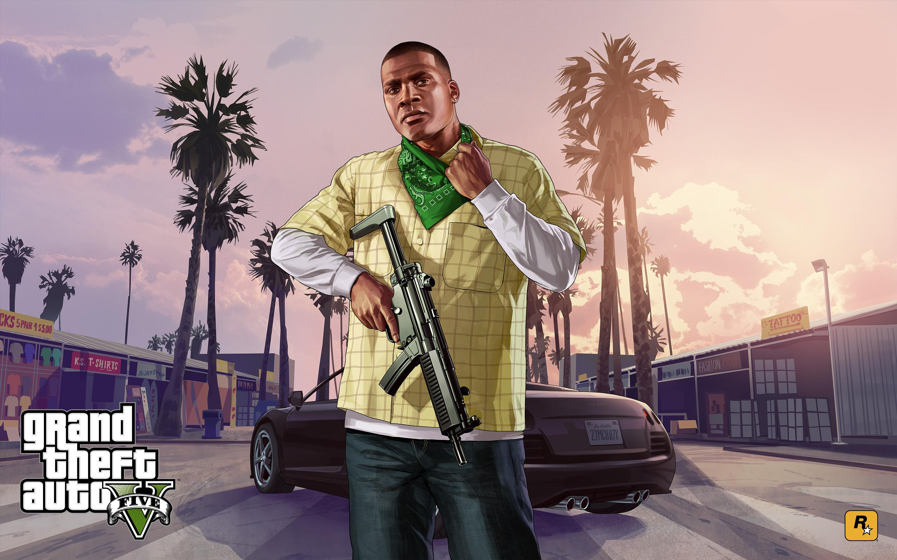 3d Game Wallpaper Franklin Clinton With A Gun In Grand Theft Auto V Hd