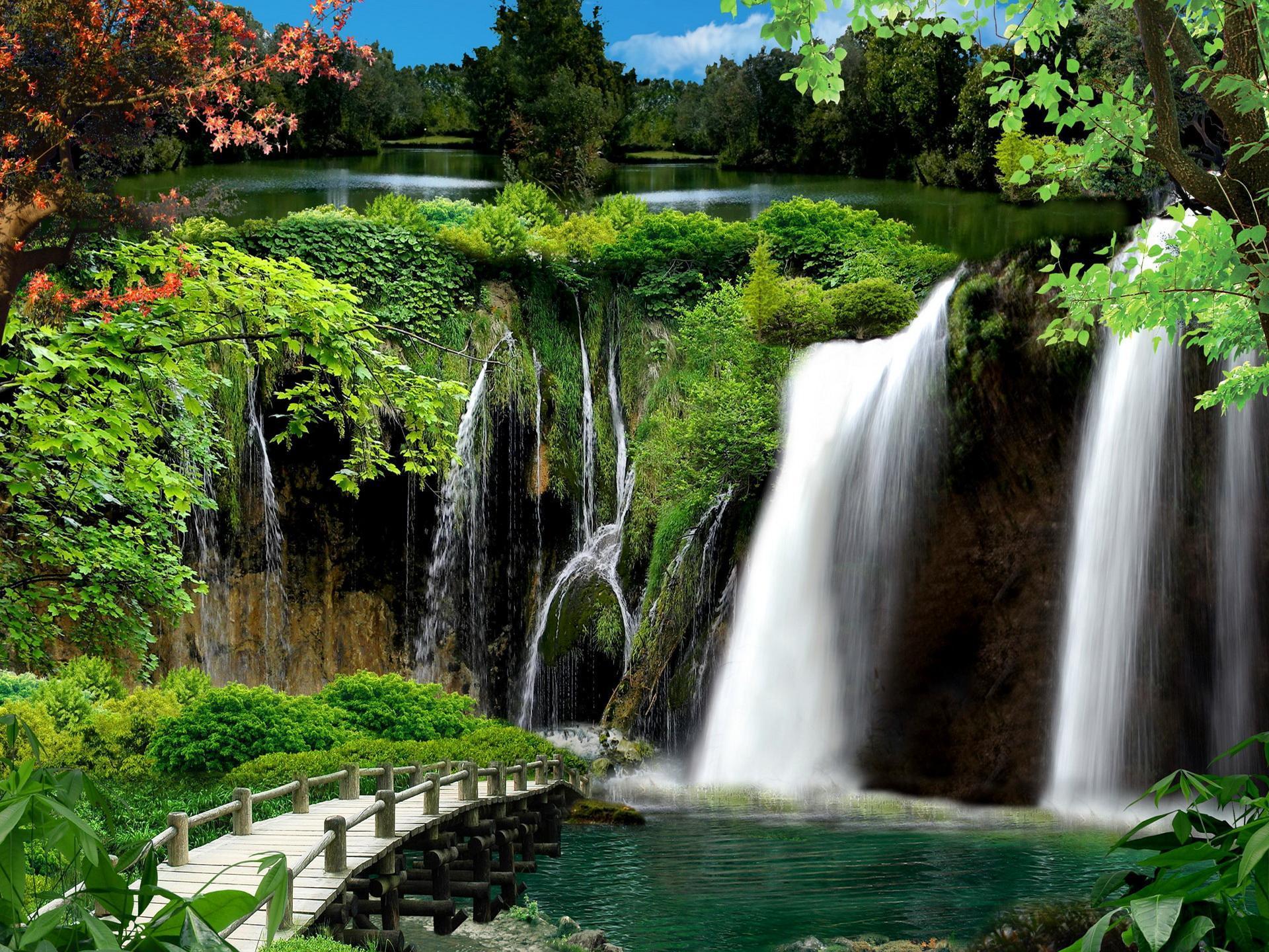 Wallpaper Desktop Girl Falling Garden Waterfall Hd Desktop Wallpaper Widescreen High