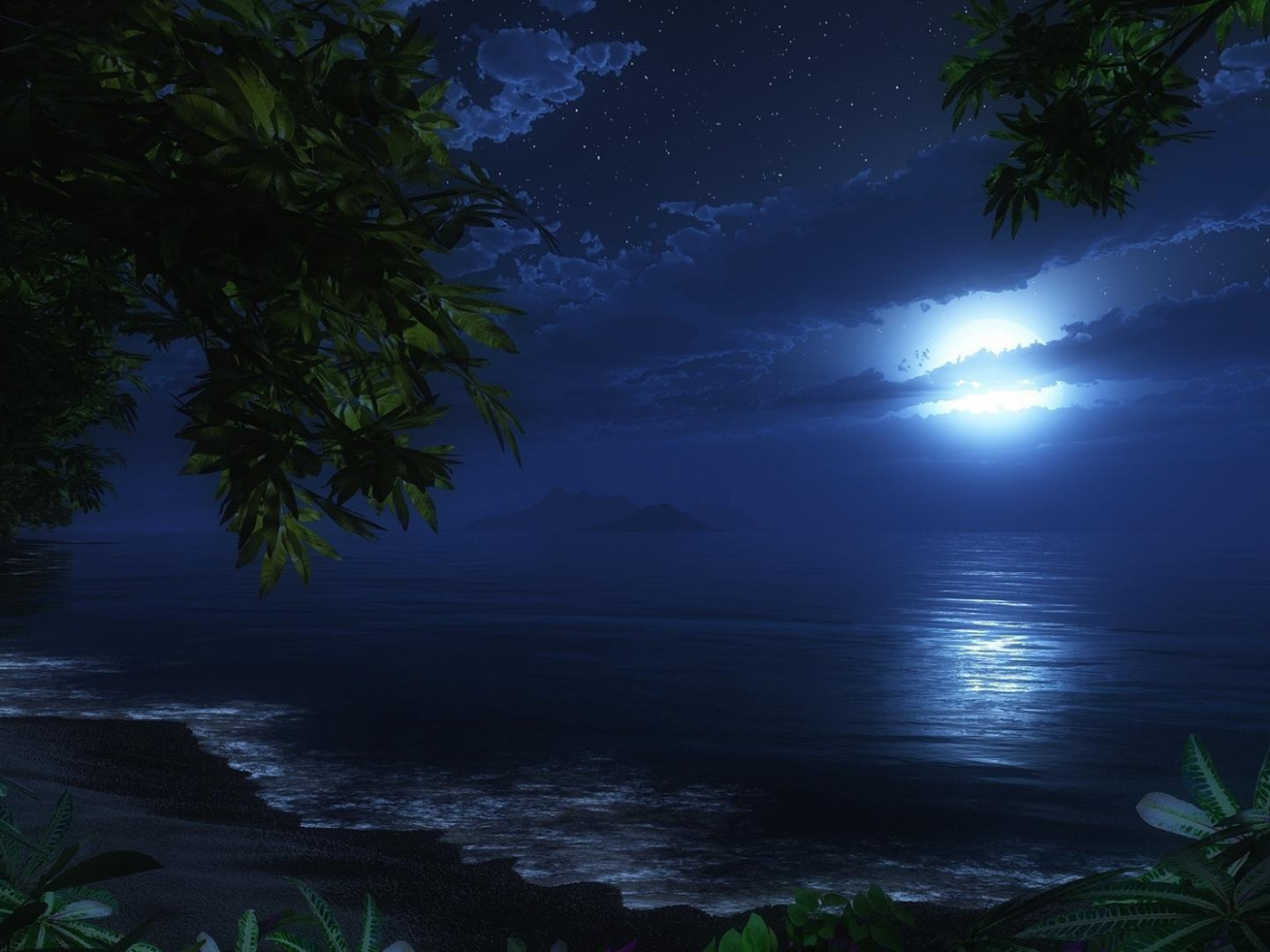 Ocean 3d Dynamic Wallpaper Moonlit Beach Hd Desktop Wallpaper Widescreen High