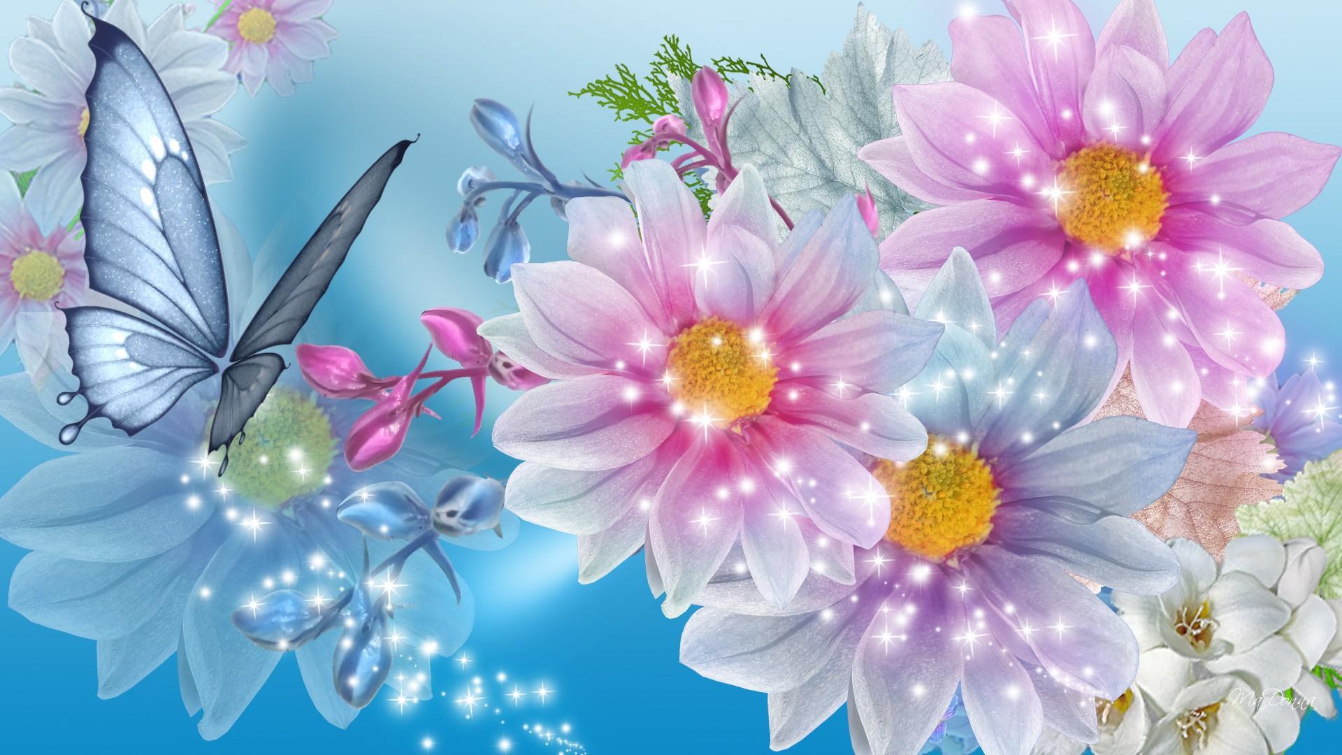 Funny Animated Wallpapers 粉蓝色碎花美女高清桌面壁纸:宽屏:高清晰度:全屏