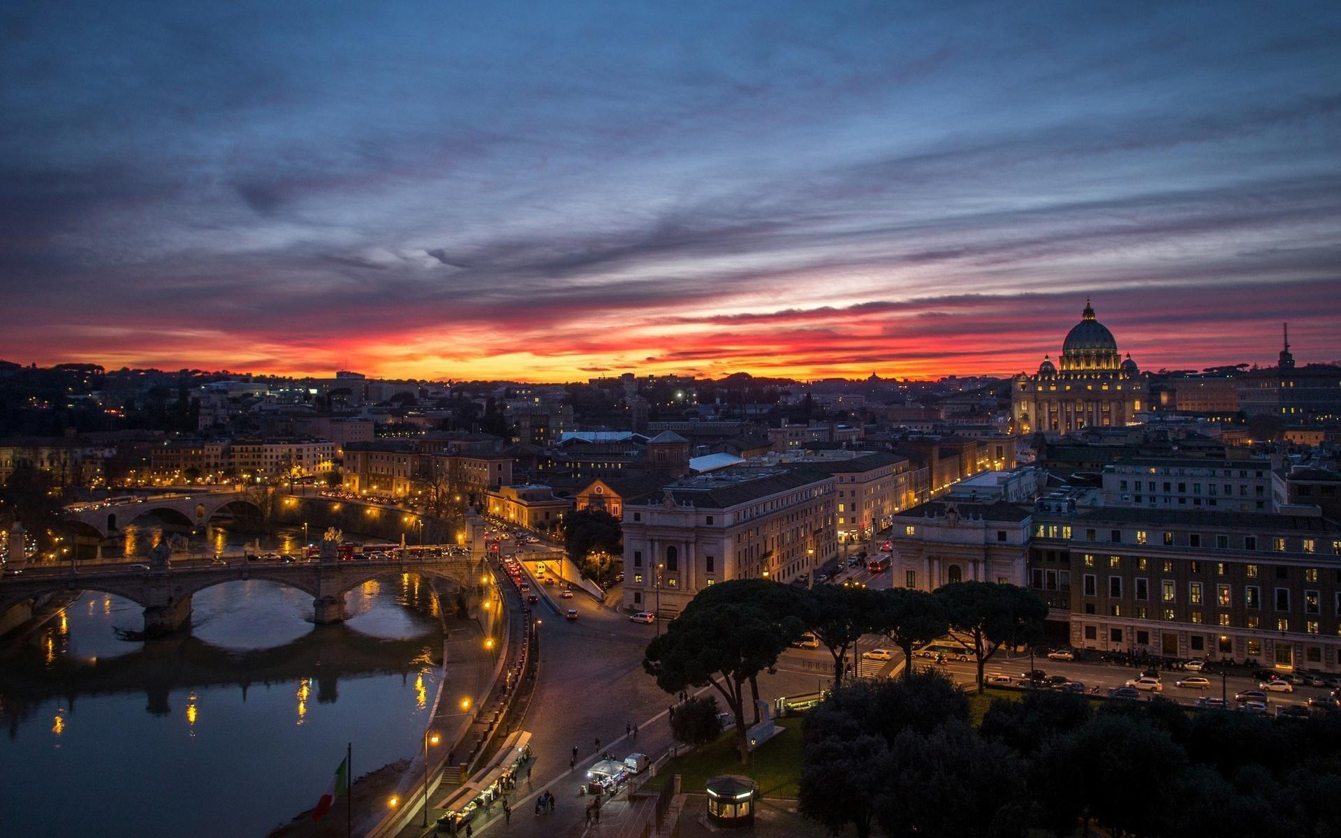 Desktop Wallpaper Hd 3d Full Screen Baby Rome Vatican City Night Sunset Panorama Houses Buildings