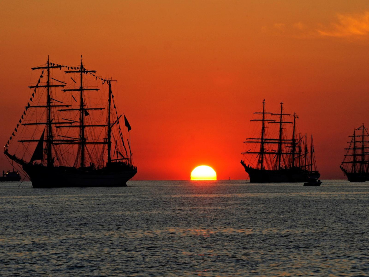 At Sea Tall Ships At Sea In Sunset Hd Desktop Wallpaper